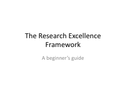 The Research Excellence Framework
