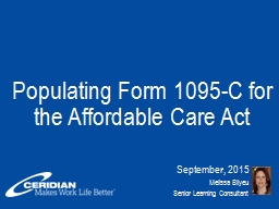 Populating Form 1095-C for the Affordable Care Act PowerPoint PPT Presentation