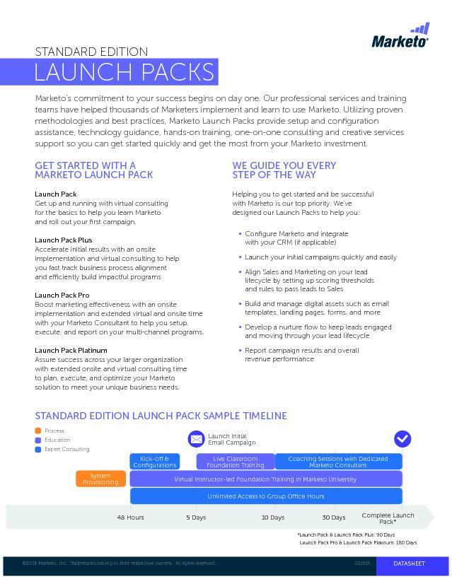 LAUNCH PACKSGET STARTED WITH A MARKETO LAUNCH PACKGet up and running w