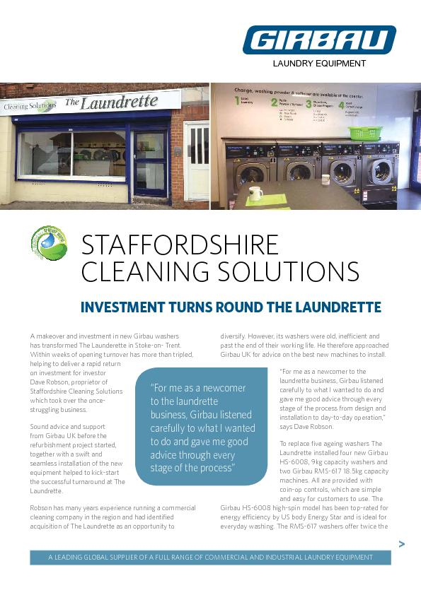 INVESTMENT TURNS ROUND THE LAUNDRETTEA makeover and investment in new