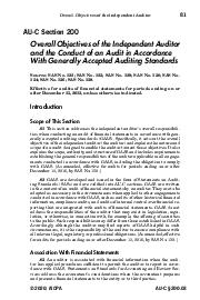 Overall Objectives of the Independent Auditor  AUC Section  Overall Objectives of the Independent Auditor and the Conduct of an Audit in Accordance With Generally Accepted Auditing Standards Source S