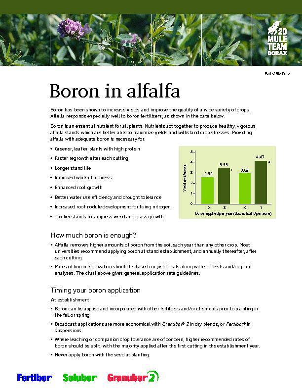 Boron has been shown to increase yields and improve the quality of a w