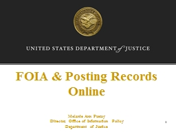 FOIA & Posting Records Online PowerPoint PPT Presentation