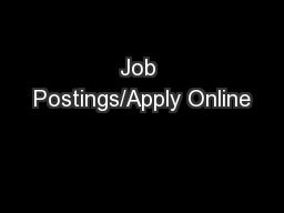 Job Postings/Apply Online PowerPoint PPT Presentation
