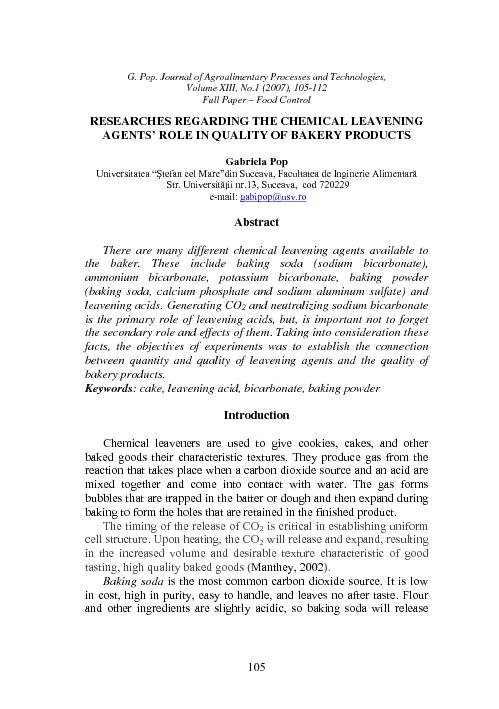 RESEARCHES REGARDING THE CHEMICAL LEAVENING AGENTS' ROLE IN QUALI
