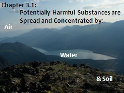 Potentially Harmful Substances are Spread and Concentrated
