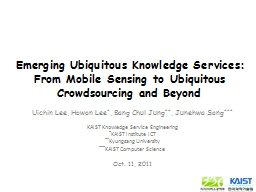 Emerging Ubiquitous Knowledge Services: From Mobile Sensing
