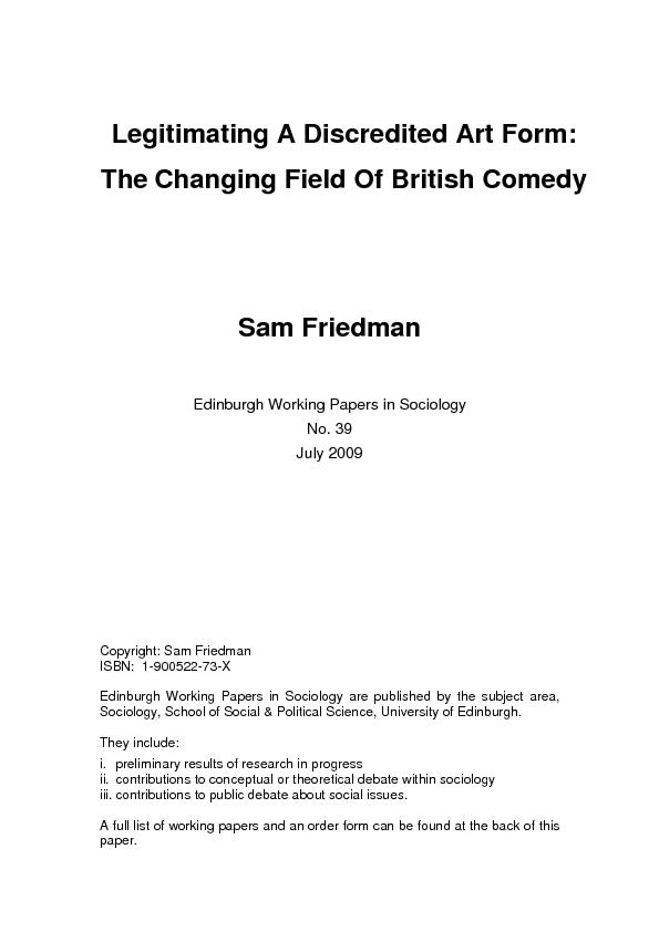 Legitimating A Discredited Art Form: TheChanging Field Of British Come