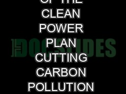 Wdd WW OVERVIEW OF THE CLEAN POWER PLAN CUTTING CARBON POLLUTION FROM POWER PLAN