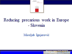 Reducing precarious work in Europe - Slovenia