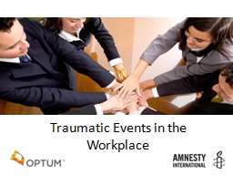 Traumatic Events in the Workplace