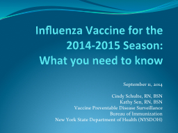 Influenza Vaccine for the