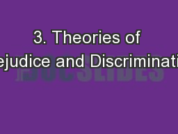 3. Theories of Prejudice and Discrimination