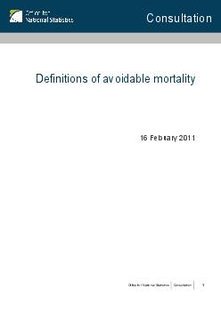 Consultation on definitions of avoidable mortality Introduction Background Basic concepts et al