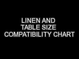 LINEN AND TABLE SIZE COMPATIBILITY CHART PowerPoint PPT Presentation