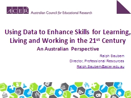 Using Data to Enhance Skills for Learning, Living and Worki