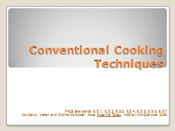 Conventional Cooking Techniques