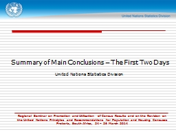 Summary of Main Conclusions – The First Two Days