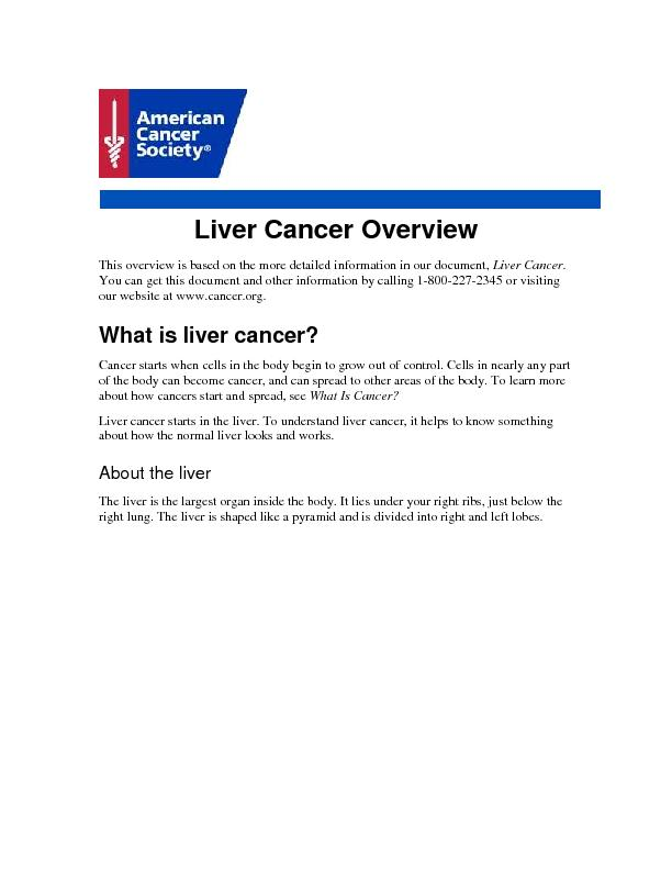 Liver Cancer Overview This overview is based on the more detailed info