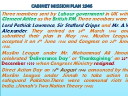 CABINET MISSION PLAN 1946 PowerPoint PPT Presentation
