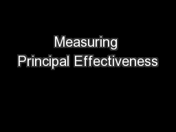 Measuring Principal Effectiveness PowerPoint PPT Presentation