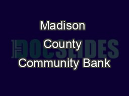Madison County Community Bank