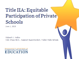 Title IIA: Equitable Participation of Private Schools