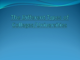 The Different Types of Colleges/Universities