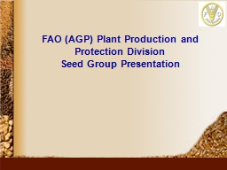 FAO (AGP) Plant Production and Protection Division