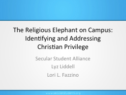 The Religious Elephant on Campus: Identifying and Addressin PowerPoint PPT Presentation
