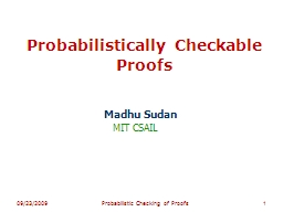 Probabilistically Checkable Proofs PowerPoint PPT Presentation