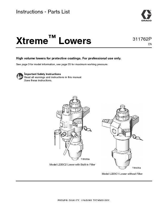 Instructions - Parts List LowersHigh volume lowers for protective coat