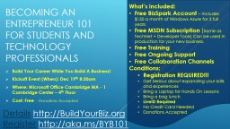 Becoming an Entrepreneur 101 for Students and Technology Pr