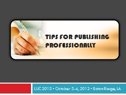 Tips for publishing professionally