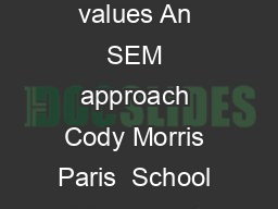 ACKPACKE R ACT IVI ES PE ON AL V AL ES U Backpacker activities and personal values An SEM approach Cody Morris Paris  School of Community Resources and Development Arizona State University Phoenix Ca