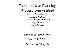 The Land Use Planning