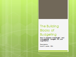 The Building Blocks of Budgeting