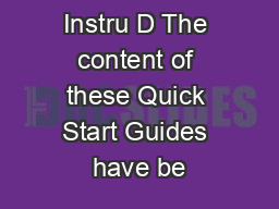 Correction Yd Instru D The content of these Quick Start Guides have be