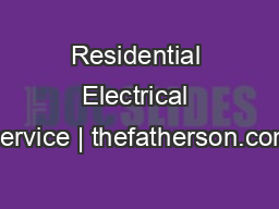 Residential Electrical Service | thefatherson.com