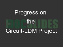 Progress on the Circuit-LDM Project PowerPoint PPT Presentation