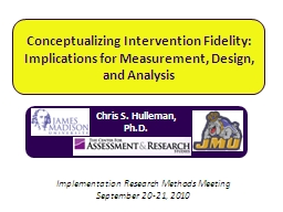 Conceptualizing Intervention Fidelity: PowerPoint PPT Presentation