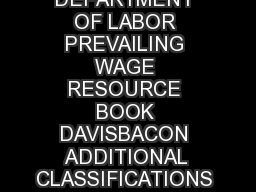 US DEPARTMENT OF LABOR PREVAILING WAGE RESOURCE BOOK DAVISBACON ADDITIONAL CLASSIFICATIONS PROCESS  U