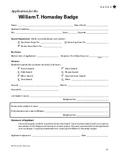 Boy Scouts of America Application for the William T