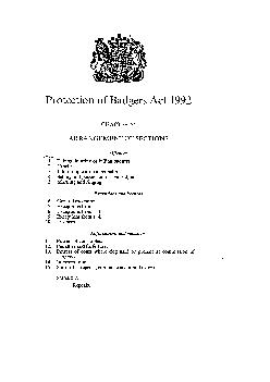 Protection of Badgers Act  CHAPTER  ARRANGEMENT OF SECTIONS Offences Section