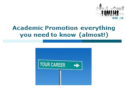 Academic Promotion everything you need to know (almost!)