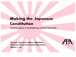 Making the Japanese Constitution