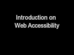Introduction on Web Accessibility