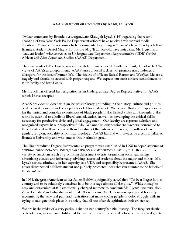 AAAS Statement on Comments by Khadijah Lynch