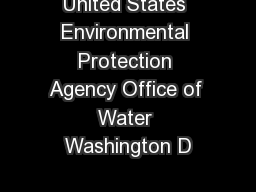 United States Environmental Protection Agency Office of Water Washington D