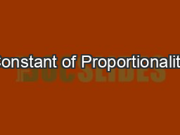 Constant of Proportionality PowerPoint PPT Presentation